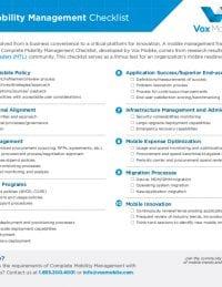 Mobility Management Services Checklist