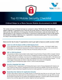 Top 10 Mobile Security Checklist