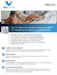 Top 10 Ways Vox Mobile Empowers EMM for Healthcare's Digital Transformation